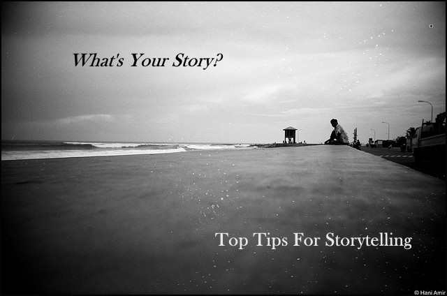<h5>▲ What's Your Story? </h5><p>One message - two separate lines using matching colors.  Simple yet powerful.</p>