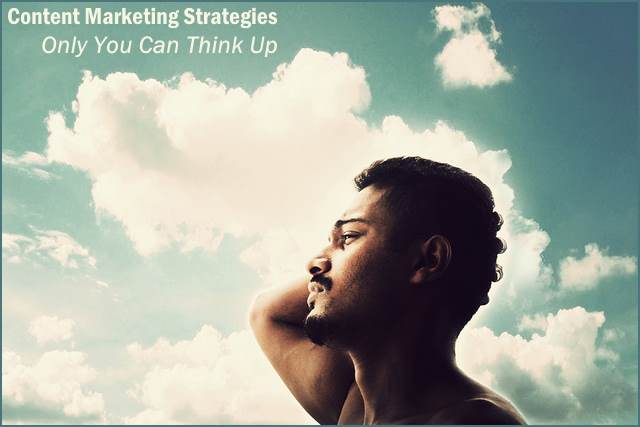 <h5>▲ Content Marketing Strategies Only You Can Think Up</h5><p>A man deep in concentration. Any title involving thought, thinking, or choices could be used with an image such as this.   For style, I matched the cloud color for a light text message. The second half of the message uses a lighter italicized font so the top bolder lines stands out a little.</p>