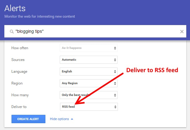 Google Alerts to a RSS Feed