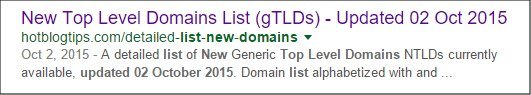 gTLD Search Result Update