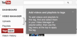 youtube tag message