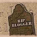 Grave marker with RIP Blogger