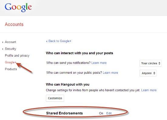 image - Google Plus Shared Endorsements Setting