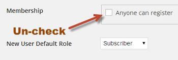 Uncheck Registration Box