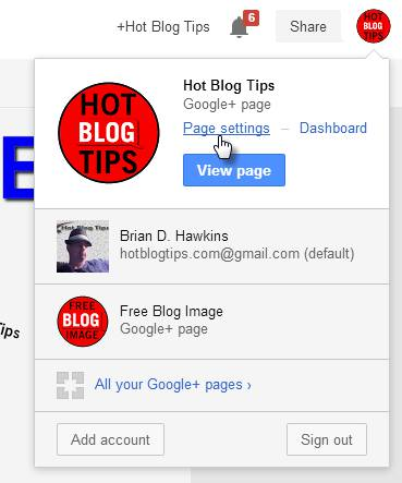Google Plus page settings