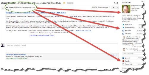 Gmail Rapportive Screenshot