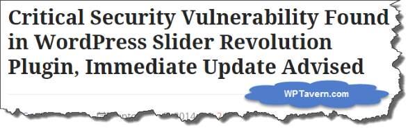 WordPress Slider Revolution Plugin Vulnerability