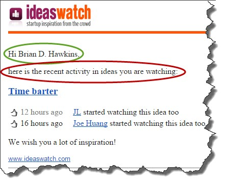 Ideas Watch - personalization example