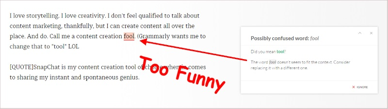 Grammarly thinks I'm a tool